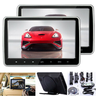"2X HD 10"" LCD Digital Screen Car Headrest Monitor USB MP4 DVD Player IR/FM Game"
