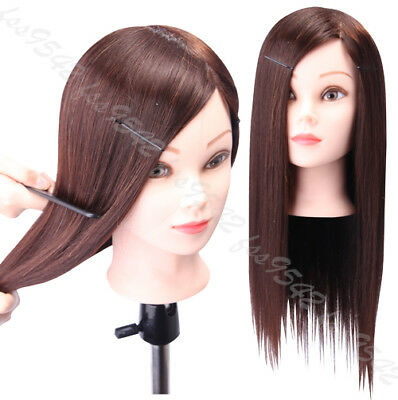 """90% Real Hair Salon Hairdressing Training Head 22"""" Cosmetology Mannequin Head"""