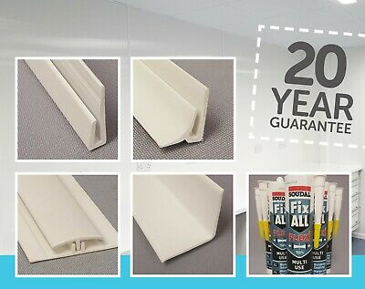 ***SALE***   8 foot trims and fixing profiles for pvc white wall sheets