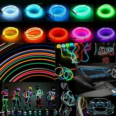 5M Battery Operated Luminescent Neon LED Lights Glow EL Wire Party Strip Rope