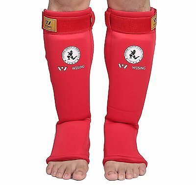 Wesing muaythai shin instep guard Adult Unisex IFMA approved blue red colors