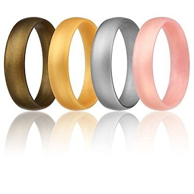 Silicone Wedding Ring Women Silver Rose Gold Bronze Exercise Band Rubber Size 8