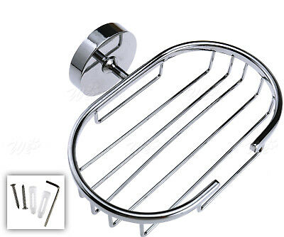 Silver Wall Mounted Soap Holder Basket Tray Bathroom Bath Shower Stainless Steel