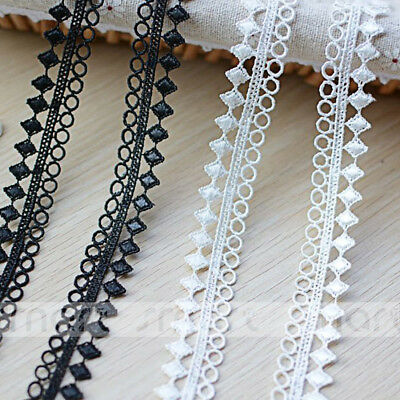 2 Yards White Black Polyester Lace Trim Triangle Embroidery Ribbon Embellishment