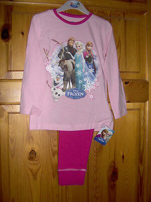 GIRLS DISNEY 'FROZEN' PYJAMAS PRETTY PINK  - AGES 3/4 - 5/6 - 7/8 - 9/10 Years