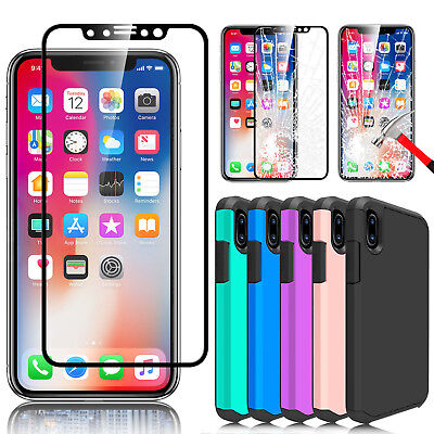 For Apple iPhone X Full Coverage Tempered Glass Screen Protector + Hybrid Case