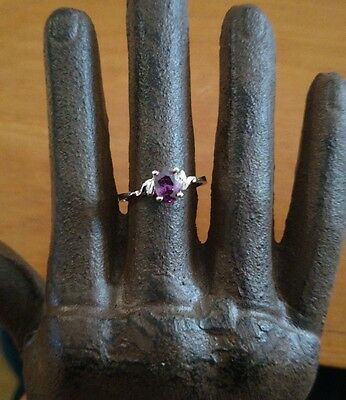 Stunning vintage Sterling silver and amethyst ring estate sz 6.5