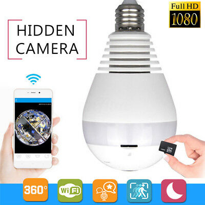 360 Degree HD 1080P Hidden Fish Eye Bulb Wifi Camera LED Light CCTV Security