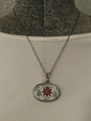 Rare antique Chinese pottery shard sterling silver necklace pendant Lotus flower