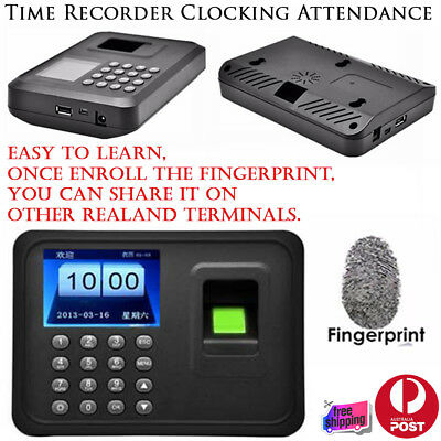 New Time Recorder Clocking In Clock USB Machine Attendance Fingerprint Password