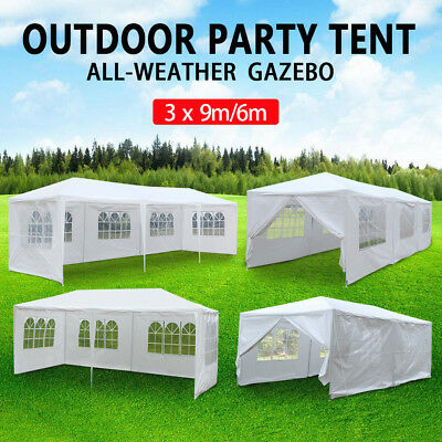 New 3X6M/9M Outdoor Gazebo Folding Tent Pop Up Party Marquee Shade Canopy White