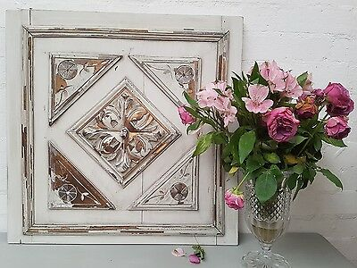 Gorgeous Large Antique French Shabby Chic Chippy Paint Carved Oak Panel C1900 02