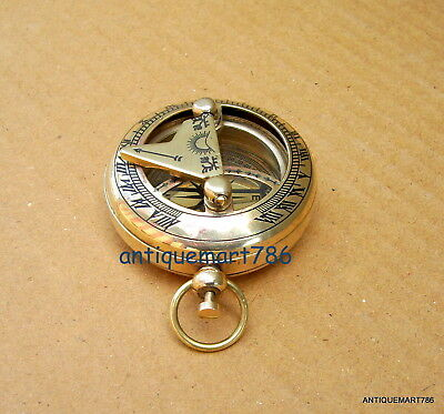 Brass Pocket Sundial Direction Compass ~ Push Button ~ Collectible Gifts