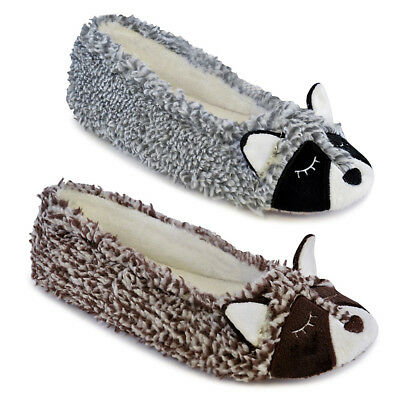 Ladies Ballet Slippers Animal Dolly Warm Comfort Knitted Winter Mules Shoes Size