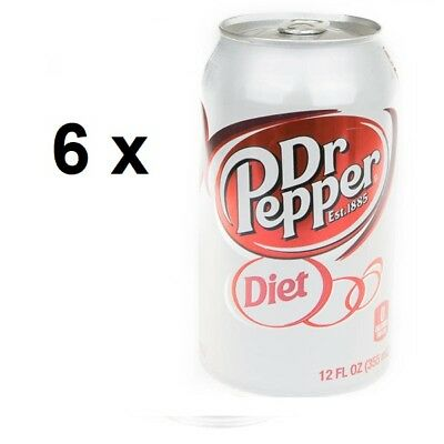 6 x USA Diet Dr Pepper Soda Drink in 12oz, 355 ml Can