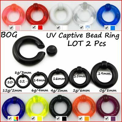 Pair UV Acrylic Big Large Size Giant Spring Load Captive Bead Ring Ear Tunnel Pl