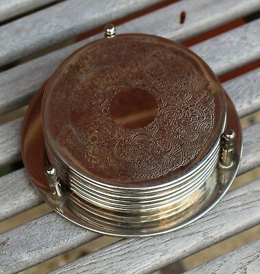 L@@K Retro 6 Silver Plate Wine Glass Coasters with Holder...