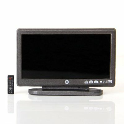 Dollhouse Miniature Widescreen Flat Panel LCD TV with Remote Gray M7Y5