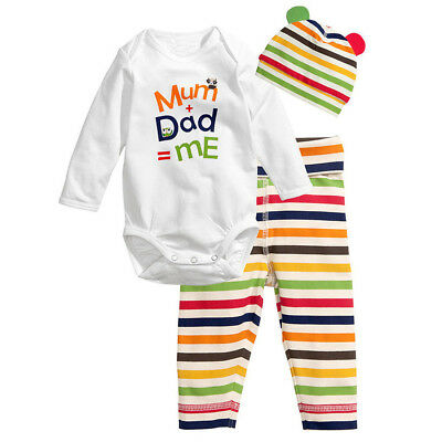 3pcs Baby Boys Girls Kids Newborn Hat+Romper+Pants Trousers Outfit Clothing K4A0