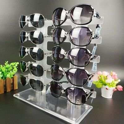 Two Row Sunglasses Rack 10 Pairs Glasses Holder Display Frame Stand Transparent