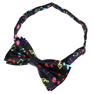 Stylish Black Bottom with Colorful Musical Note Design Bow Tie For Men E2A6