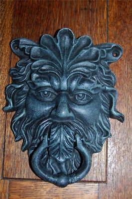 HUGE Antique style Cast Iron GREEN MAN Door Knocker Gargoyle Celtic Greenman