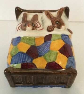 "ROYAL DOULTON Tableware Ltd. Bunnykins ""Sleepytime"" Figurine - Parents in Bed"