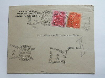 1938 Old Stamped Cover Hungary To Czechoslovakia , Good Condition
