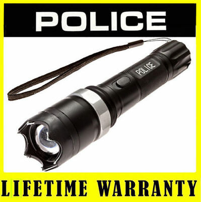 POLICE Stun Gun T10 58 Billion Max Volt Metal Rechargeable Zoom LED Flashlight