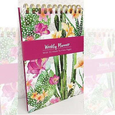 A5 52 Week Planner Note Book Wiro Pad Weekly Diary Spiral Week Days Pages