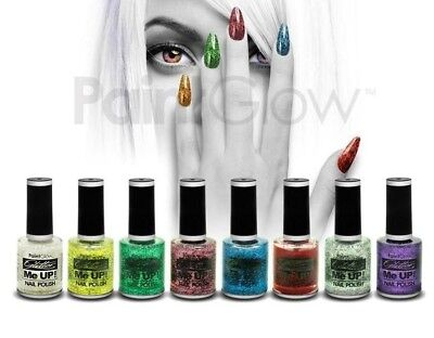SET 8 COLORI SMALTO CON BRILLANTINI nail polish art glitter mani unghie make up