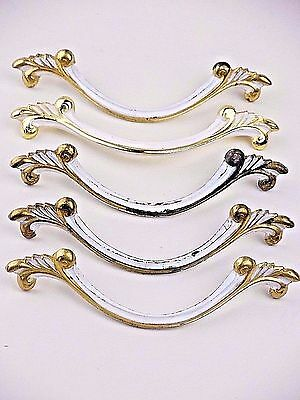 "Lot of 5 Vintage French Provincial White & Gold Drawer Pulls 3"" C-C ~Shabby!"