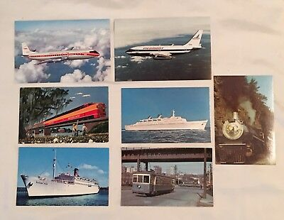 Lot Of 7 Vintage Transportation Postcards Ships Planes Trains Streetcar *ec*