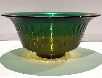 Vintage BOHEMIA Hand Made CRYSTALEX Glass BOWL Emerald Green & Yellow ~ Exc Cond