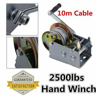 1100KG 2500lbs Hand Winch With 10M Webbing Wire Gear Strap For Car Boat Trailer