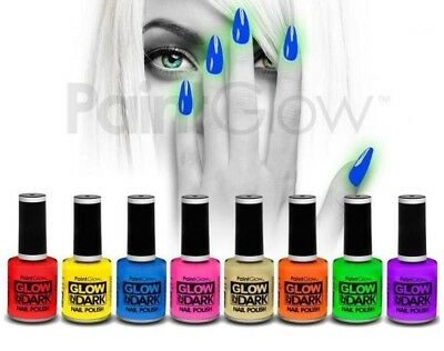SET 8 COLORI DIVERSI SMALTO FLUO-FOSFORESCENTE uv wood unghie make up nail art