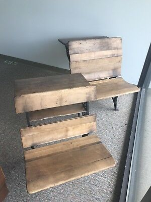Antique Elementary Matching School Desks Wood Cast Iron Vintage, buy both or one