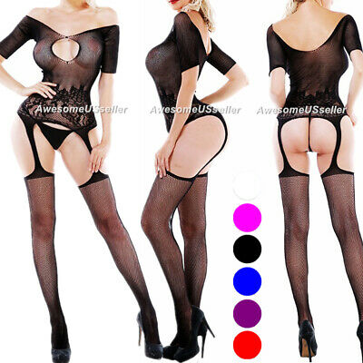 New Bodystocking Fishnet Bodysuit Women Body Stocking Bodycon Nightwear Lingerie