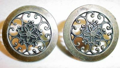 Two Vintage Fancy Lace Metal Drawer Pulls