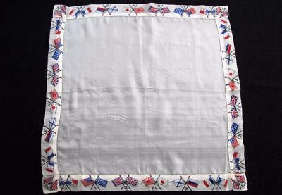 Antique WW1 World War One Printed Silk Handkerchief -  Allied Flags c1914 -18