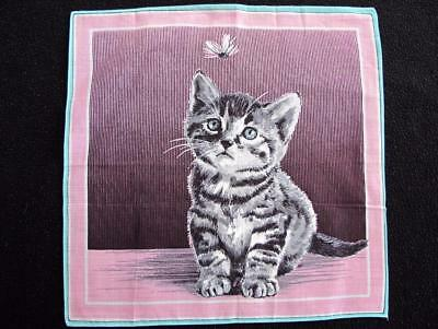 Vintage 1950's Printed Novelty Handkerchief Hanky  - Kitten & Fly - Cat