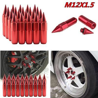 20Pcs Red Spiked Aluminum 60mm Extended Tuner Wheels/Rims Lugs Nuts M12X1.5 JDM