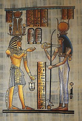 Egyptian Hand-painted Papyrus - Ramses III offering to Hathor