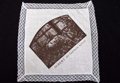 "Vintage 1980's Printed Handkerchief Hanky  - ""Albert the Laid Back Kitten"""