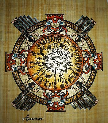 Egyptian Hand-painted Papyrus - Circular Zodiac from Temple of Dendera