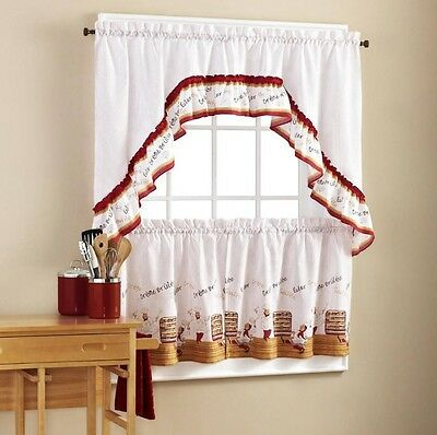 Fat Chef Bistro Cafe Red White Kitchen Curtains Set Tiers & Swag Valance
