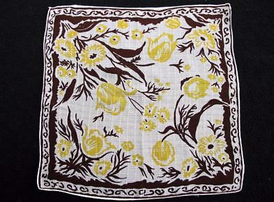 Vintage 1930's Printed Handkerchief Hanky - Brown & Yellow Floral Design
