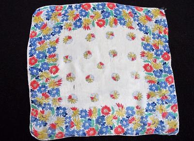 Vintage 1930's Printed Handkerchief Hanky - Brightly Coloured Floral Design
