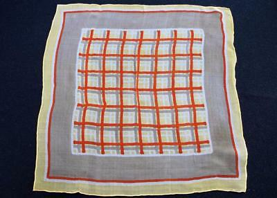 Vintage 1930's Printed Chiffon Handkerchief Hanky - Yellow & Orange Checked