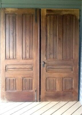 Vintage 1800's Old Antique French Doors Solid Oak Door Victorian Farmhouse